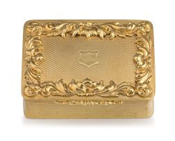 A William IV silver-gilt table snuff box, Charles Rawlings & William Summers, London, 1837