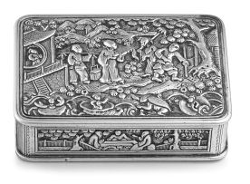 A Chinese Export silver snuff box, probably Canton, early 19th century
