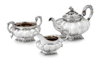 A William IV silver three-piece tea service, Adey Bellamy Savory, London, 1831