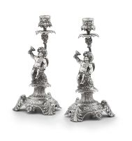 A pair of Turkish silver candlesticks, 20th century, .900 standard