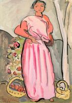 Irma Stern; Woman in Pink with Baskets