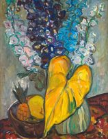 Irma Stern; Fruit, Delphiniums and Leaf