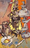 Gregoire Boonzaier; Still Life with Samovar and Lamp