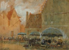 Sydney Carter; Dutch Scene with Market Stalls