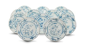 A set of twelve Chinese Export blue and white plates, Qianlong period (1735-1796)