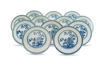 A set of twelve Chinese Export blue and white soup dishes, Qianlong period (1735-1796)