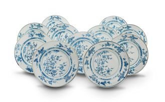 A set of eleven Chinese Export blue and white plates, Qianlong period (1735-1796)