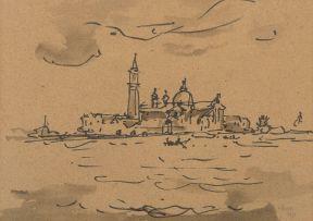 Gregoire Boonzaier; San Giorgio, recto; Boats at their Moorings, verso