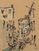 Gregoire Boonzaier; A Venetian Canal, recto; Trees on a Hillside, verso