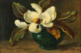 Otto Klar; A Magnolia in a Green Vase