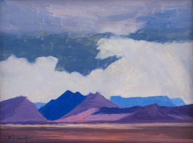 Jacob Hendrik Pierneef; Landscape with Mountains and Clouds