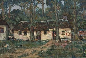 Gregoire Boonzaier; Cape Cottages with Figures and Fowls