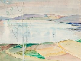 Maud Sumner; Landscape with Lake and Bare Tree