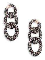 Pair of diamond 'Tango' rose gold pendant earrings, Pomellato