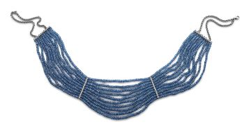Blue sapphire bead and diamond collar