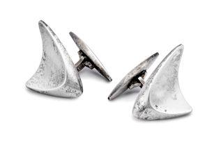 Pair of Georg Jensen silver cufflinks, No 88, designed by Henning Koppel, Denmark, .925 Sterling, 1960s