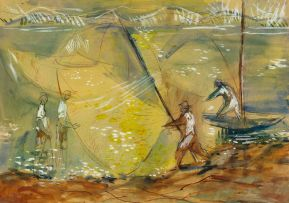 Zoltan Borbereki; Fishermen Casting their Nets