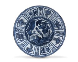 A 'Kraak-porselein' blue and white dish, Ming Dynasty, 17th century