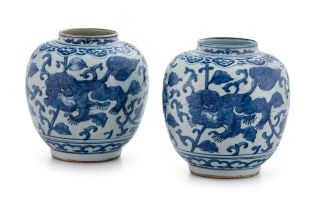 A near pair of Chinese blue and white vases, Qing Dynasty, Kangxi period, 1662-1722