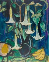 Alfred Krenz; Still Life with Angel's Trumpet Flowers and Bananas