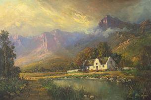Gabriel de Jongh; A Homestead in a Mountainous Landscape
