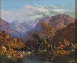Tinus de Jongh; A Mountainous Landscape with Stream