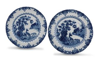 A near pair of Chinese blue and white dishes, Qing Dynasty, 18th century
