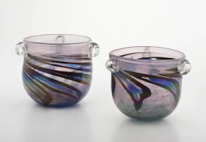 Two Shirley Cloete amethyst and clear glass bowls, 1982