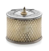 A Victorian silver-plate and ivory tea caddy