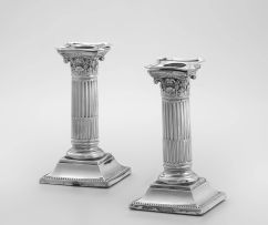 A pair of Victorian silver candlesticks, Martin, Hall & Co, London, 1887