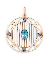 Edwardian rose gold and aquamarine pendant, Murrle, Bennett & Co, 1896-1914