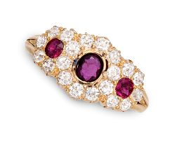 Victorian ruby and diamond cluster ring