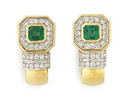 Pair of emerald and diamond half-hoop earrings