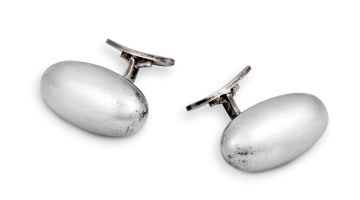 Pair of Georg Jensen silver cufflinks, No 121, designed by Vivianna Torun, Denmark, .925 Sterling, 1960s