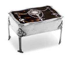 An Edward VII silver and tortoiseshell jewellery box, William Comyns & Sons, London, 1908
