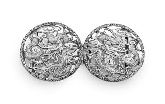 A Chinese Export silver belt buckle, Wang Hing, Canton, late 19th/early 20th century