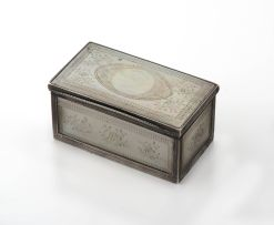A George III silver-mounted mother-of-pearl snuff box, late 18th/early 19th century