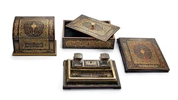 An Edwardian brass, rosewood and red tortoiseshell Boulle-style marquetry five-piece desk set, retailed by J.C. Vickery, Regent Street, London