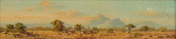 Otto Klar; Landscape with Huts