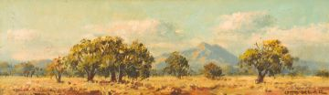 Otto Klar; Landscape with Trees and Mountains