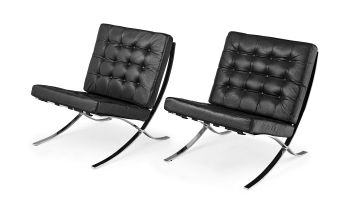 A pair of 'Barcelona' black leather and chrome chairs, designed by Mies van der Rohe in 1929, of later manufacture, 1980s