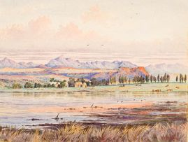 Cathcart William Methven; Dam and Farm at the Foothills of Mountains