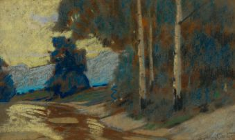 Sydney Carter; Landscape with Road and Trees
