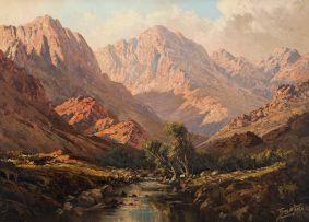 Tinus de Jongh; Mountain with Stream