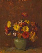 Adriaan Boshoff; Zinnias in a Green Vase