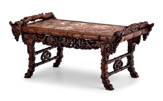 A Chinese hardwood and marble scholars table, Qing Dynasty, late 19th century