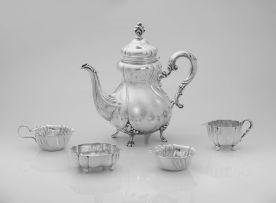 An assembled German silverthree-piece coffee set, .835 standard, post 1888