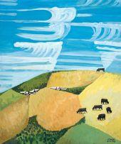 Peter Clarke; Koppie and Cattle, Teslaarsdal (sic)