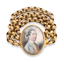 19th century portrait miniature and gold bracelet