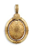 Gold Archaeological Revival mourning locket/pendant, 19th century